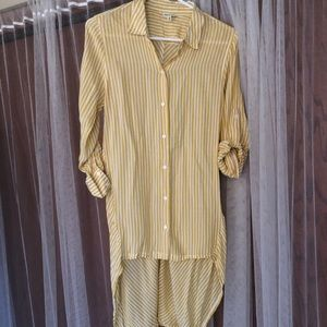 Yellow and white striped button up